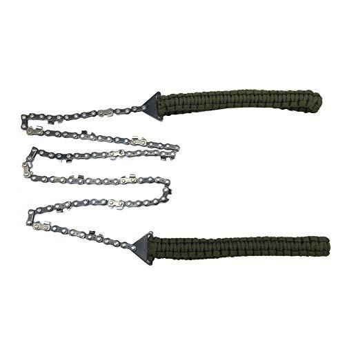MiOYOOW Motosierra de bolsillo, con mango de cuerda de paracaídas, plegable, 63,5 cm, 11 dientes para acampar, senderismo