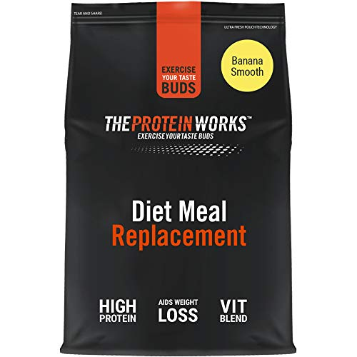 THE PROTEIN WORKS Diet Meal Replacement Shake | Nutrient Dense Complete Meal | Immunity Boosting Vitamins, Affortable | Healthy And Quick | Banana Smooth | 1 kg