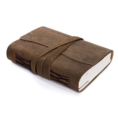 Diario in pelle fatto a mano, diario per scrivere o scrivere giornaliero rilegato per uomini e donne, carta sfoderata, misura media, regalo per artista, schizzo (7 x 5)