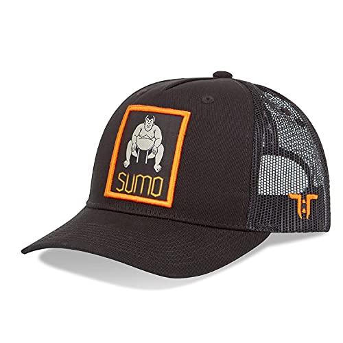 Tokyo Time Gorras de béisbol para hombre y mujer, 100% algodón, diseño único, gorra ajustada, inspirada en el este, desarrollada en el oeste, gama Sumo, Naranja/Negro, Talla única
