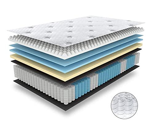 BedStory Federkernmatratze 180x200cm, 7 Zonen Taschenfederkernmatratze härtegrad H3 mit 3D Memory Foam, Boxspringmatratze Höhe 27cm, Ergonomische Matratze für erholsamen Schlaf, 10 Jahre Garantie