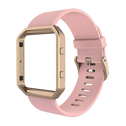Simpeak Sport Band Compatible with Fitbit Blaze Smartwatch Sport Fitness, Silicone Wrist Band with Meatl Frame Replacement for Fitbit Blaze Men Women, Large, Pink Band with Frame