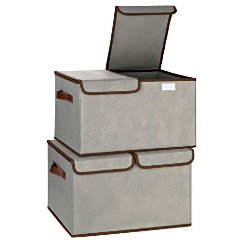 TOPP4u Faltbox groß mit Deckel geteilt im 2er Set grau - 2 große Aufbewahrungsboxen ideal für Schränke und Regale - 44 x 31 x 26 cm, 35 Ltr. - große Ordnungsboxen, Aufbewahrungskisten