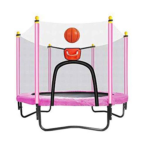 SCH Kindergartentrampolin, Trampolin mit Schutzgitter, Basketballkorb - Kinder-Basketballtrampolin (59 × 51 Zoll) (Color : Pink)