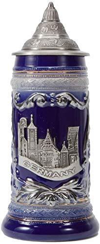 RENFEIYUAN Cerveza Stein Alemania Cerveza Stein Cerámica Cerámica Taza Hecho A Mano Copa Tankard Petwer Lid Alemán Castle Relief Regalos de Souvenirs Giftbox 0.6 litro Jarra de Cerveza