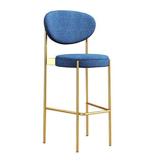 N/Z Daily Equipment Chair Counter Metallmöbel mit Rückenlehne und atmungsaktivem Stoffsitz Einfaches Design Heavy Duty für Pub Cafe Küche Restaurant Barhocker 65Cm 65Cm