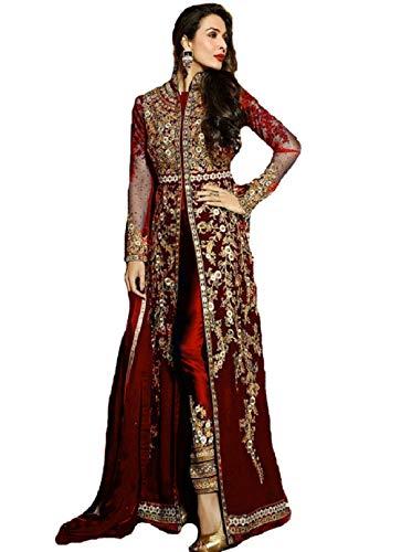 Delisa New Indian/Pakistani Designer Georgette Party Wear Anarkali Suit VF-3 (Medium, Red)