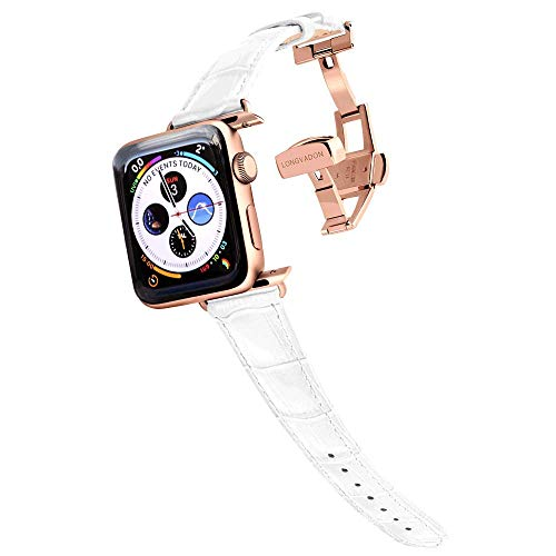 Longvadon Women's Caiman Series Watch Band - Compatible with Apple Watch 38MM (Series 1-3) & 40MM (Series 4-5) - Genuine Top Grain Leather - Snow White with Gold Details - M Size
