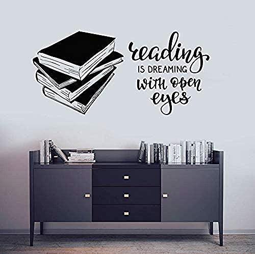 Pegatinas De Pared Libros Biblioteca Sala De Lectura Librería Vinilo Widnow Cartel Oferta De Lectura Calcomanías 57X27Cm