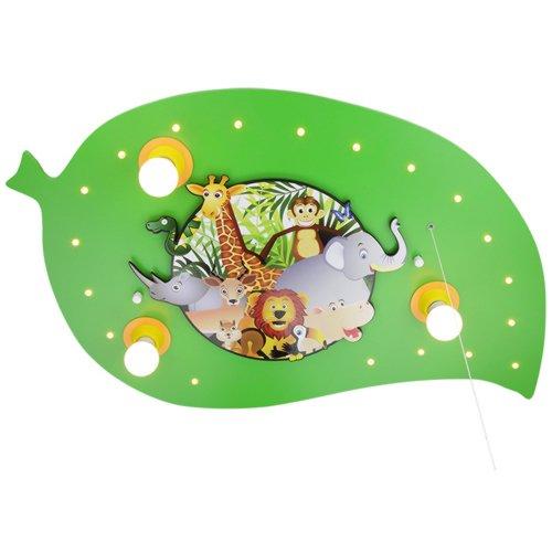 Elobra-Leuchten - Lámpara de techo (led), diseño de hoja con animales de la selva