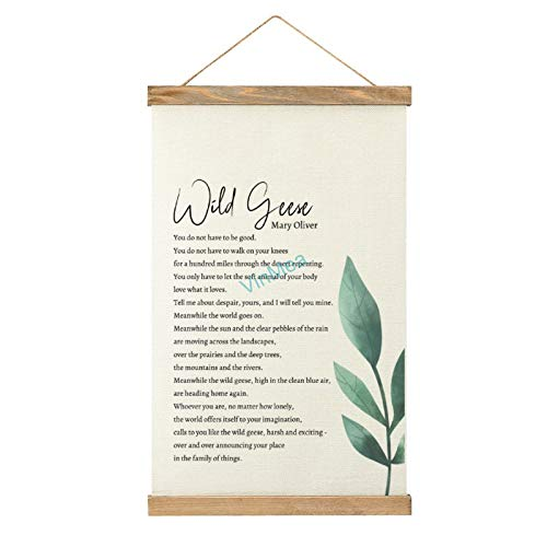 VinMea Canvas Wall Hanging Wild Geese Mary Oliver Wooden Frame Banner Wall Art Sign Décor