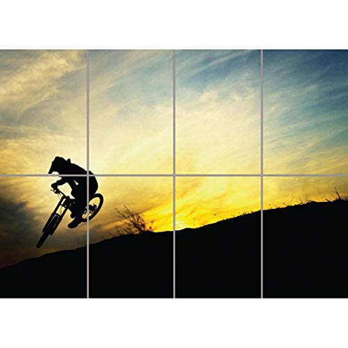 Doppelganger33 LTD BMX Mountain Bike Sunset Jump Wall Art Multi Panel Poster Print 47x33 inches