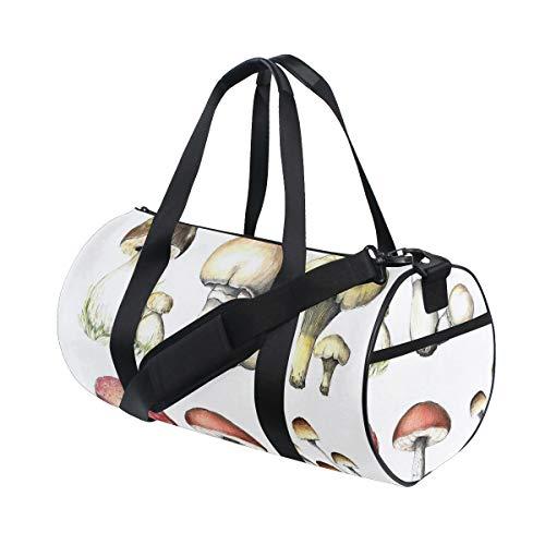 HARXISE Sporttasche Reisetasche,Hand gezeichnetes Pilzmuster Amanita Muscaria Boletus Champignon,Schultergurt Handgepäck für Übernachtung Reisen