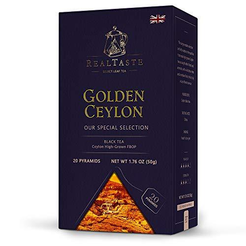 Real Taste Golden Ceylon Black Tea, 20 x 2.5 g in Pyramids