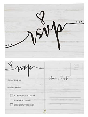 Sustainable Greetings RSVP Postkarten (60 Stück) - Antwortkarten für Hochzeit, Abendessen, Babyparty, Brautparty, Geburtstagseinladung, keine Umschläge Erforderlich - 10,2 x 15,2 cm