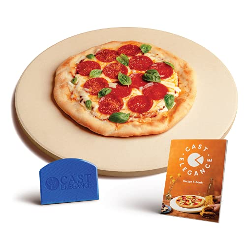 Cast Elegance Theramite Durable Pizza and Baking Stone for Oven and Grill, Includes Recipe E-Book & Cleaning Scraper, Large, 16 inch Round, 5/8th inch Thick, Circular Design