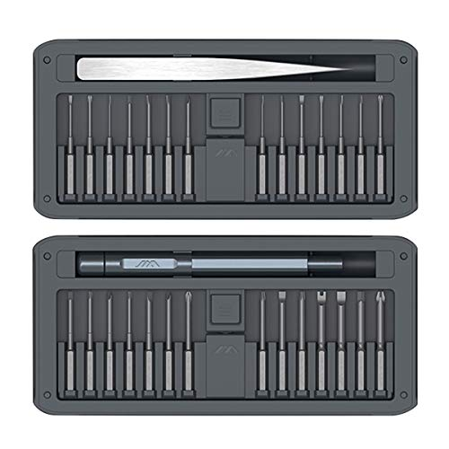 Mecool Set di cacciaviti di precisione Set di strumenti di riparazione portatile 30 in 1 Attrezzi rimovibili magnetici professionali per iPhone X, 8, 7/Cellulare/Computer/Tablet/Elettronica ecc-Grigio