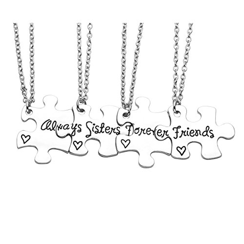 Jovivi Silver Engraved Sisters Friends Forever Jigsaw Puzzle Piece Pendant Necklaces for Best Friend BBF Friendship,Set of 4