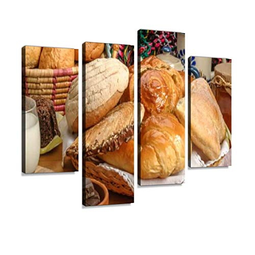 Canvas Wall Art Painting Pictures Mexican Sweet Bread Modern Artwork Framed Posters for Living Room Ready to Hang Home Decor 4PANEL
