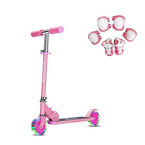 キックスクーター子供用 2輪キックボード LED 光るホイール ブレーキ付き 3階段調節可能 折り畳み式 持ち運びに便利 足踏み式 キックスクーター (ピンク)