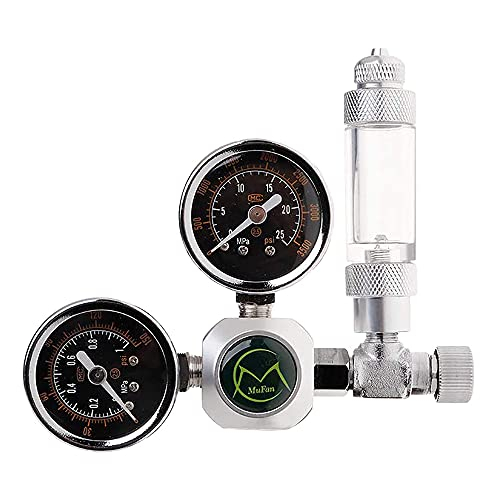 NICREW CO2 Druckminderer Aquarium, CO2 Druckregler mit 2 Manometer, Blasenzähler für Aquarium