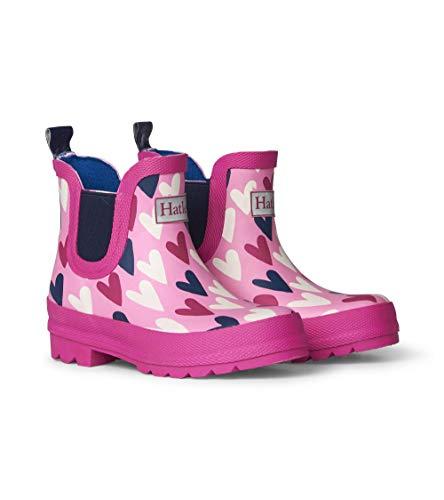 Hatley Girls' Big Chelsea Rain Boots, Lovely Hearts, 3 US