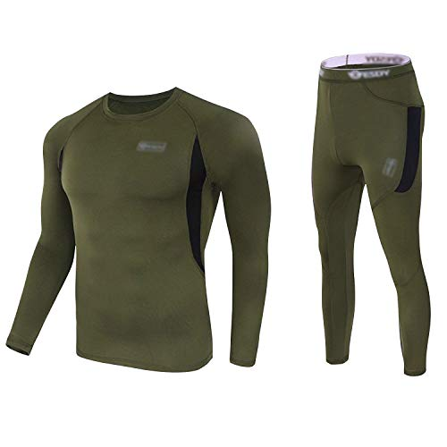 Mens Thermal Underwear Sets Long Johns Tops & Bottom Set Fleece Winter Warm Base Layers Quick Drying Thermo Base Layer Army Green