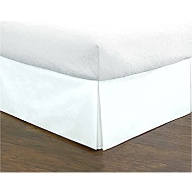 Lux Decor Collection Bed Skirt Long Staple Fiber - Durable, Comfortable & Abrasion Resistant, Quadruple Pleated, 100% (Queen,White)