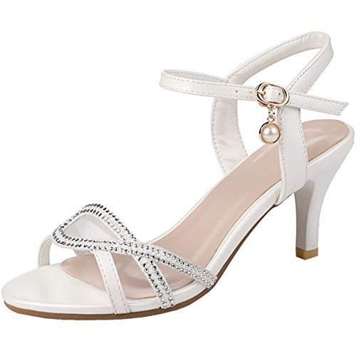 COOLCEPT Mujer Moda Sandalias De Tiras Tacón De Aguja Punta Abierta Zapatos...