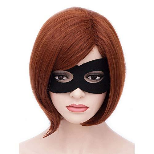 BERON Women Girls Short Bob Straight Dark Orange Wig Halloween Cosplay Wig Anime Costume Party Wig
