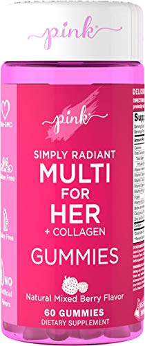 Pink Simply Radiant Multivitamin for Women | 60 Natural Mixed Berry Flavor Gummies | Nutrients from A to Z | Plus Collagen & Biotin | Non-GMO & Gluten Free | Created by Women for Women