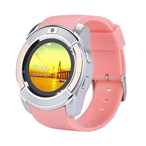 MPWPQ - Reloj inteligente Bluetooth para deportes, seguimiento de fitness, compatible con tarjeta SD, tarjeta SIM, cámara de música, reloj inteligente, reloj para hombres, mujeres, niños (color: rosa)