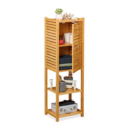Relaxdays Badregal aus Bambus, 5 Böden, mit Tür, stehend, Bad & Küche, schmales Badmöbel, HxBxT: 113 x 35 x 29 cm, Natur, 1 Stück