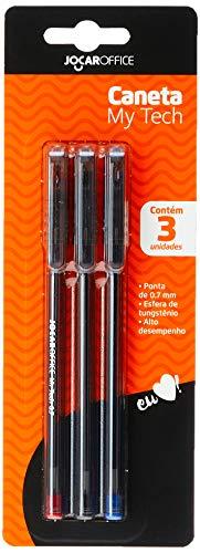 Caneta Esfereográfica Ponta Fina 0.7mm Blister Com 3 Unidades Az/Pt/Vm Jocar Office Leonora, Colorido