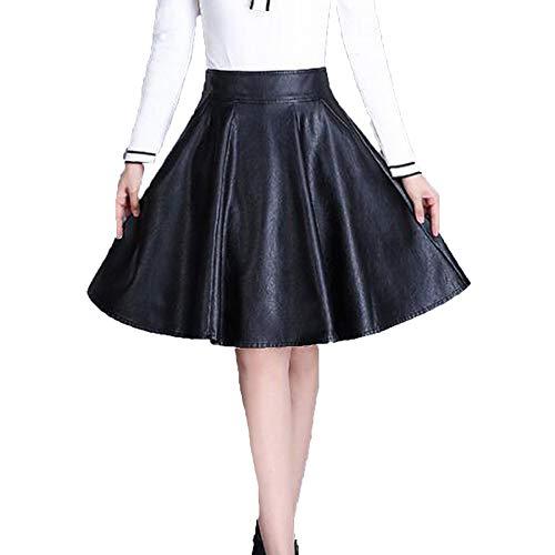 NIAIS Falda Plisada con Efecto De Falda Minifalda Y Pliegues De Imitación De Cuero De Talle Alto para Mujer,Black-XXXL