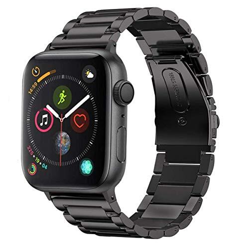 MroTech Metallarmband für Watch Band 44mm 42mm Armband Edelstahl Uhrenarmband Ersatz für Smartwatch Serie 4 Serie 3 Serie 2 Serie1 Sport Edition Nike+ (42 mm / 44 mm, Schwarz)