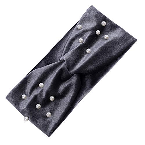 gulang-keng Diadema de terciopelo brillante de color sólido, banda de pelo ancho anudada vintage, perlas de imitación, para fiestas deportivas, turbante de orejas, para regalo de joyería de pelo