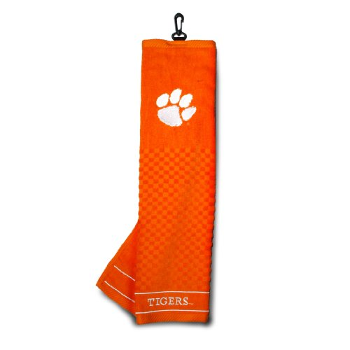 Team Golf NCAA Clemson Tigers Embroidered Golf Towel, Checkered Scrubber Design, Embroidered Logo,Multi
