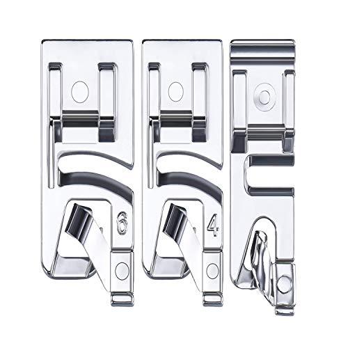 Set piedini per macchine da cucire a bordo stretto 3 pezzi Adatto per macchine da cucire multifunzione per uso domestico (3 mm, 4 mm e 6 mm)