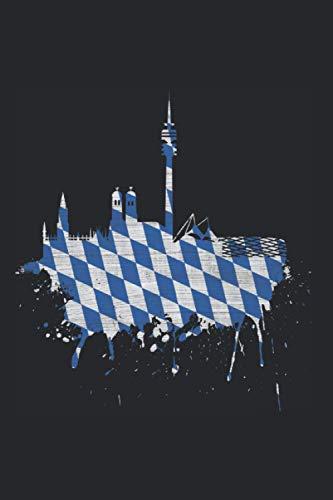 """München Skyline Notizbuch: München Skyline Bayern Flagge Bayrische Fahne Blau Weiß Fan (Liniert, 15 x 23 cm, 120 Linierte Seiten, 6\"""" x 9\"""") Bayern Geschenk Für München Fans"""