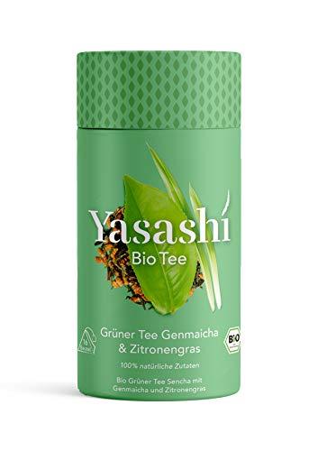 Yasashi Bio Tee Bio Grüner Tee Genmaicha & Zitronengras Leicht karamellig zitrisch verfeinert 100% natürliche Zutaten 100% Bio Qualität 100% recyclefähige Verpackung 16 Pyramidenbeutel x 1,75g