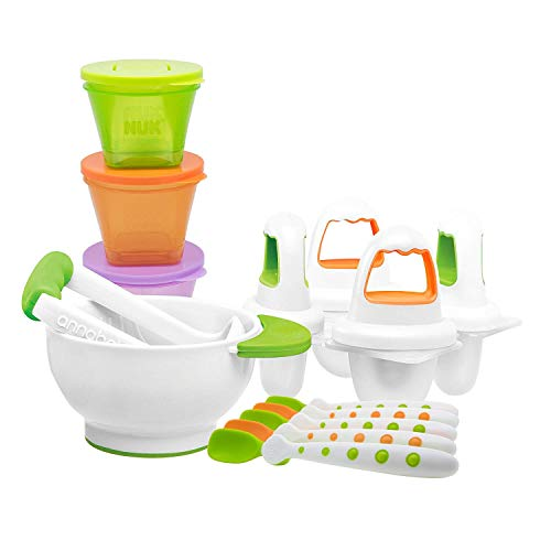 NUK Baby Weaning First Foods Starter Set with 5 Spoons, 4 Ice Lolly Moulds, 1 Masher/Bowl and 3 Food Storage Cups, 14 Piece Set