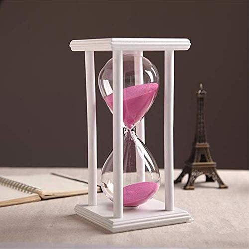 DFBGL Temporizador de Reloj de Arena de Arena Transparente de Cristal de 30 Minutos, Temporizador de Reloj de Arena con Madera, para decoración del hogar, Soporte de Arena de Color, Temp