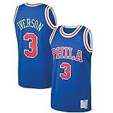 ZDFG Outdoor Hombres 1996-97 Season Allen Iverson #3 Baloncesto Camiseta Leisure Breathable Philadelphia 76ers Vest Camiseta Anti-Wrinkle Vest - Royal
