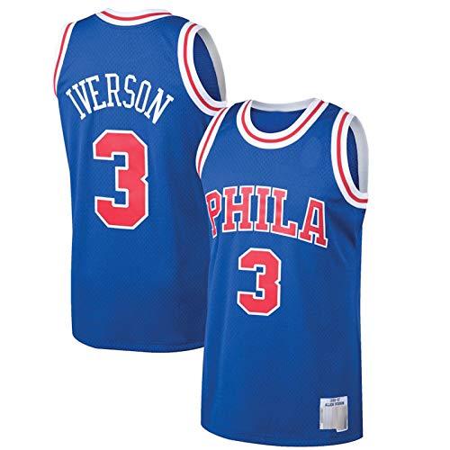 ZHILIN Outdoor Uomo 1996-97 Stagione Allen Iverson #3 Basket Jersey Leisure Traspirante Philadelphia 76ers Vest Jersey Anti-Rughe Vest - Royal
