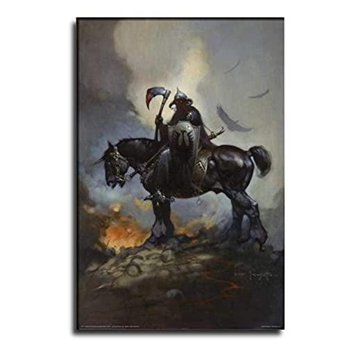 HEPILE Poster fantaisie Frank Frazettas Death Dealer Delu - Toile décorative pour salon, chambre à coucher - 30 x 45 cm