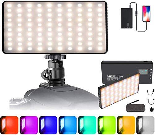Luz de Video con 4000mAh Batería y Cargador USB ,Portable Dimmable 10W RGB LED 2500K-8500K CRI95+, para Canon, Nikon, Pentax, Panasonic, Sony y Otras Cámaras Digitales SLR para Fotografía