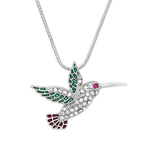 Falari Hummingbird and Other Birds Pendant Necklace Rhinestone Crystal Rhodium High Polished J0404