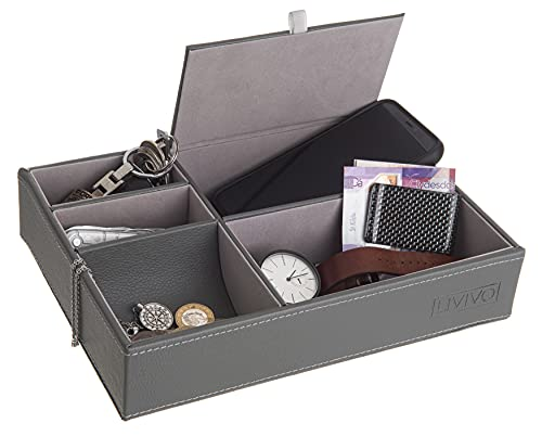 Fineway 5 Fächer Leder Valet Tray Herren Kommode börse Karten Büro Schmuck Aufbewahrungsbox Organizer Box - Handy Uhren Münzen Schlüssel (hellgrau)