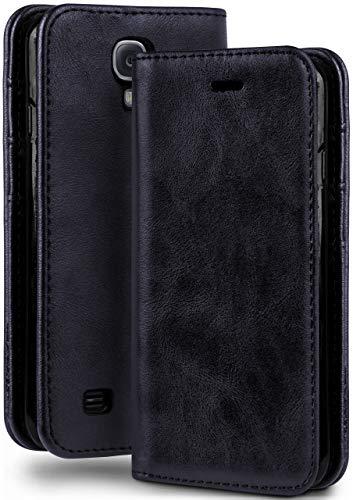 moex Booklet in Lederoptik - Kartenfächer und Aufstellfunktion passgenau für Samsung Galaxy S4 Mini | Eleganter 360 Grad Vollschutz, Dunkel-Blau